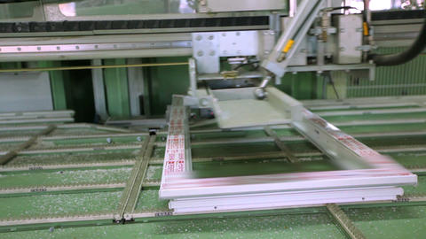 Line production of plastic windows. working machine for the manufacture of GIF