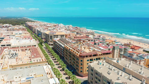Aerial view. Costa blanco apartments near beach Footage