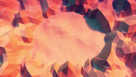 Low poly Background Loop center space Close Top view - warm color Animation