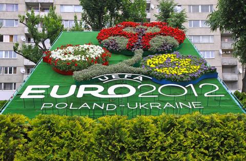 Logo of UEFA EURO 2012 tournament made from flowers Fotografía