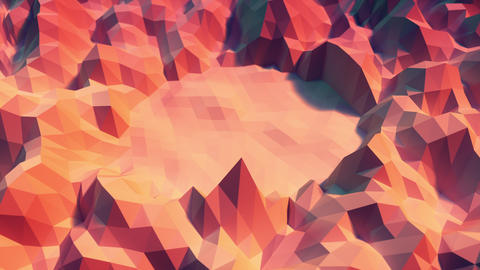 Low poly Background Loop center space - warm color Animation