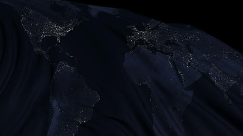 Flag with the texture of planet Earth at night Animation