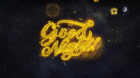 Good Night Text Wishes Reveal From Firework Particles Greeting card Footage