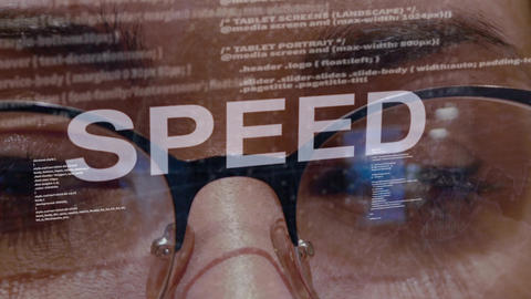 Speed text on female software developer Footage