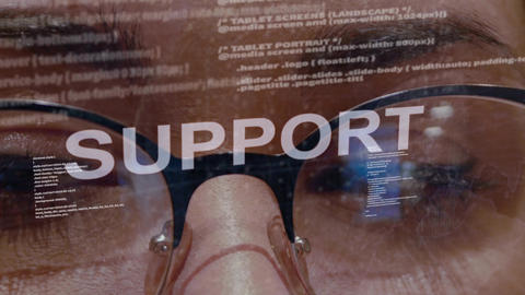 Support text on female software developer Live Action