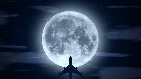 [alt video] Passenger airplane over moon in cloudy night