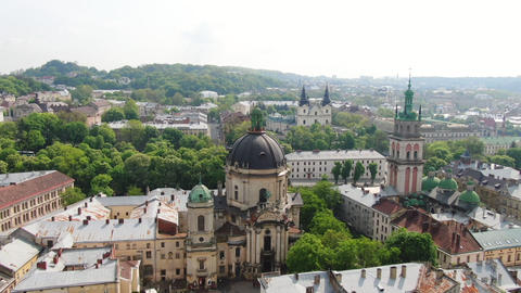 European City in spring. Densely populated areas of the city. Panorama of the Footage