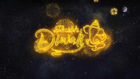Shubh Happy Diwali Text Wishes Reveal From Firework Particles Greeting card Live Action