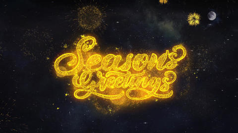 Seasons Greetings Text Wishes Reveal From Firework Particles Greeting card Live Action