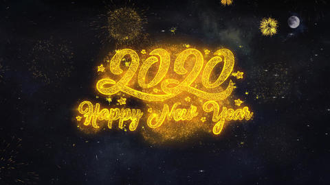 2020 Happy New Year Text Wishes Reveal From Firework Particles Greeting card Live Action
