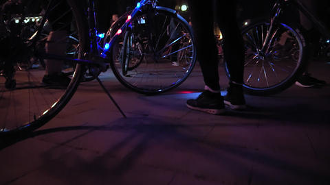 Bicycle with luminous garland Footage