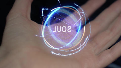 Soul text hologram on a female hand Live Action
