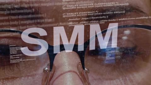 SMM text on female software developer Live Action