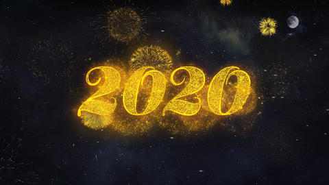 2020 New Year Text Wishes Reveal From Firework Particles Greeting card Live Action