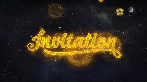 invitation Text Wishes Reveal From Firework Particles Greeting card Live Action
