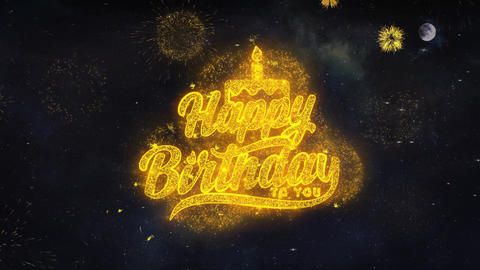 Happy Birthday to you Text Wishes Reveal From Firework Particles Greeting card Live Action
