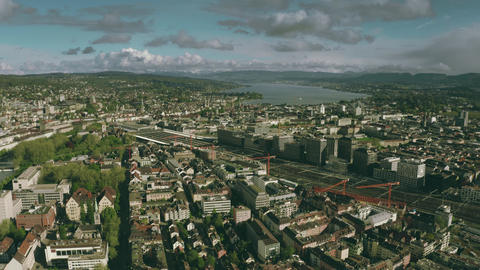 Aerial view of Zurich cityscape and the central railway station, Switzerland Footage