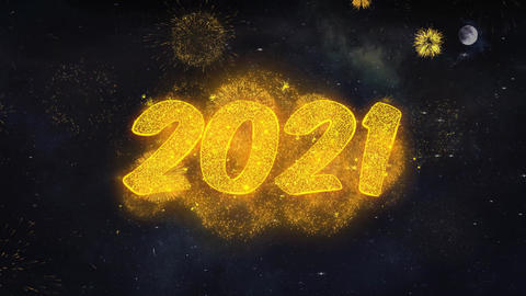Happy New Year 2021 Text Wishes Reveal From Firework Particles Greeting card Live Action