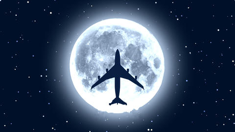 [alt video] Passenger airplane over moon in starry night