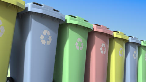 Multicolor trashcans for different kinds of recycled waste materials. Loopable Live Action