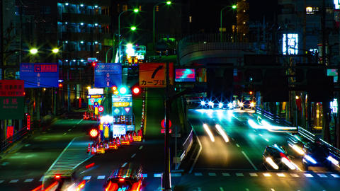 A timelapse of the street at the downtown in Tokyo at night long exposure middle Archivo