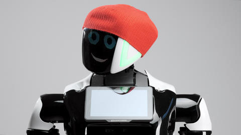 portrait of a modern robot with an electronic face. Modern Robotic Technologies Footage
