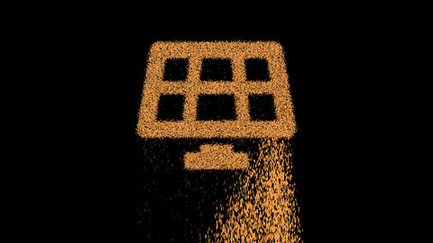Symbol solar panel appears from crumbling sand. Then crumbles down. Alpha channel Premultiplied - Animation
