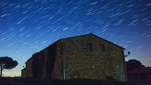 Old Stone House and the Starry Sky. Time Lapse Footage