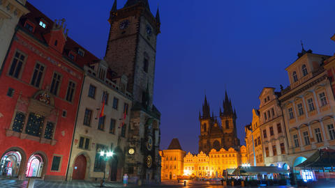 Cloudy Morning at the Old Town Square of Prague. Time Lapse 4K Footage