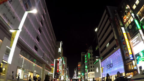 Ginza Night Of Tokyo.銀座3丁目付近の車窓 stock footage