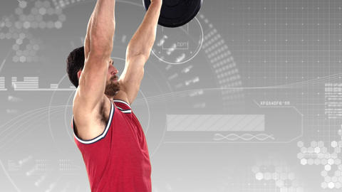 Bodybuilder lifting heavy barbell weights against animated background Animation