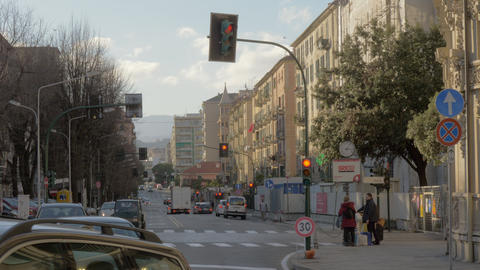 Car and people traffic in the street of Savona, Italy Archivo