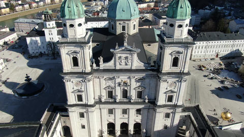Aerial footage above the Salzburg Cathedral with the view on the city, 4k Live Action