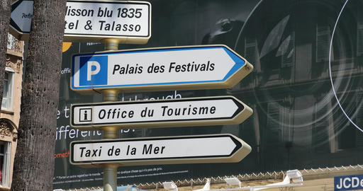 Street Signs With Directions In Cannes France Footage