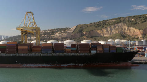 Timelapse of working crane in container port, Spain Archivo