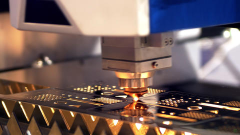 Cutting of metal. Sparks fly from laser. Clip. Laser cutting machine technology Live Action