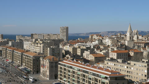 Marseille scene with sea in background, France Archivo