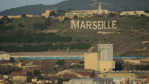 Marseille view with city name on green hills, France Archivo
