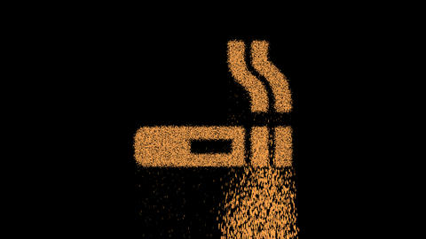 Symbol smoking appears from crumbling sand. Then crumbles down. Alpha channel Premultiplied - Matted Animation