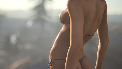[alt video] Young Woman in Swimsuit at Sunset