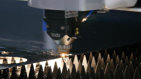 CNC Laser cutting of metal, modern industrial technology. Industrial laser Live Action