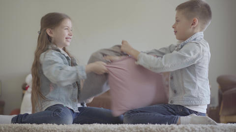 Cheerful little twins girl and boy friendly fighting in the living room with Footage