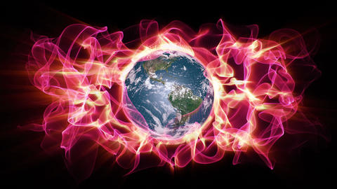 Earth Aura 006: A global warming aura of light waveforms envelope the Planet Earth Animation