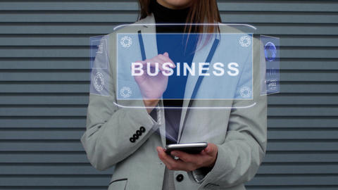 Business woman interacts HUD hologram Business Stock Video Footage
