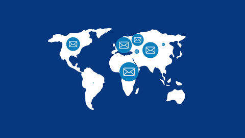 Email icon pop up on world map, Internet communication concept design on blue background seamless Animation