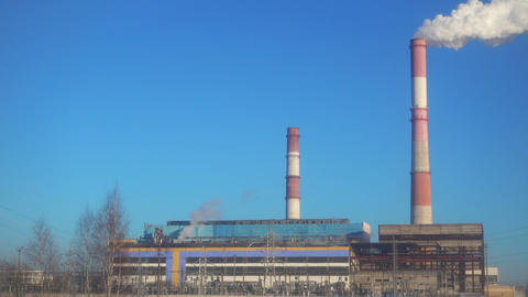 Thermal power station at beautiful sunny day Footage