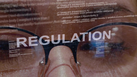 Regulation text on female software developer Live Action