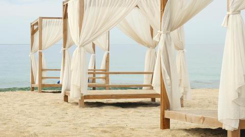 Alanya Kleopatra beach before season start in summer resort in Turkey Footage