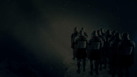 Imperial Roman Soldiers Looking at a Battlefield Under a Snow Storm Footage