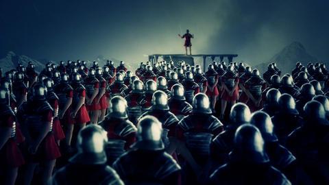 Roman Centurion Gives a Speech in Front of a Legion Under Rain Footage